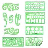 SUNSHINETEK Plantillas de dibujos geométricos de 10 piezas Reglas de tiro de plástico Regla de dibujo de curva francesa para la ingeniería de dibujo Redacción Oficina de la escuela del edificio