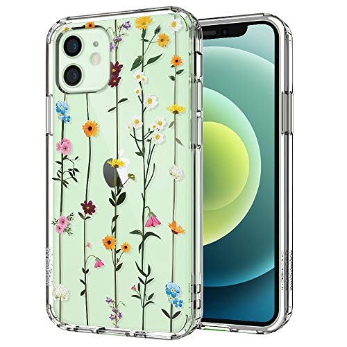 MOSNOVO Wildflower Floral Flower Pattern Designed for iPhone 12 Mini Case 5.4 Inch,Clear Case with Design Girls Women,TPU Bumper with Protective Hard Case Cover