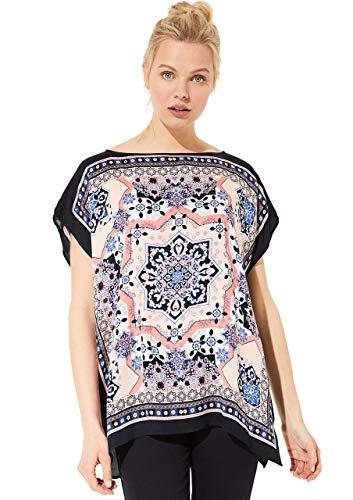 comma Casual Identity Damen Oversized Bluse mit Scarf-Print Marine Scarf Print L
