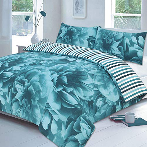 EGYPTO Cotton Polyester Rose Printed Duvet, Quilt Cover Set - Soft Bedding Set with Pillow Case (Single: 1 x Duvet Set Size: 137 x 198cm Approx. 1 x Pillow Cases Size: 50 x 75cm Approx, Teal)