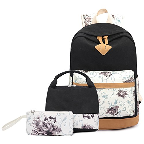 FLYMEI Bookbags for Women, 15 Inch Black Laptop Bag, Canvas Backpack for School, Cute Floral Teens Back Pack Set, Kids Backpack