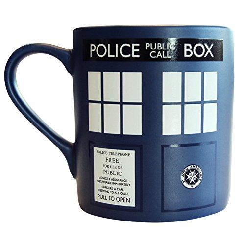 Offizieller Doctor Who Tardis Design Kaffeebecher in Geschenkverpackung.