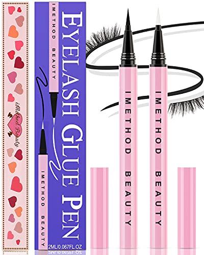 Liquid Eyeliner Pen for Eyelashes - iMethod Lash Glue Pens 2 Counts, Eyelash Glue Pens, Perfect Lashes In Seconds, Extra Strong Hold for False Eyelashes