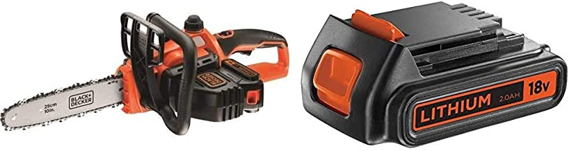 BLACK+DECKER 18V Cordless 25 cm Chainsaw with 2.0Ah Lithium Ion Battery & BL2018-XJ 2 Ah Lithium Ion Battery, 18 V