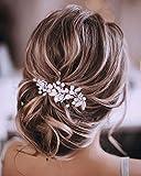 Unicra Diadema de cristal para novia de boda, con diseño de flores, hojas y accesorios para el pelo para mujeres y niñas (oro rosa)