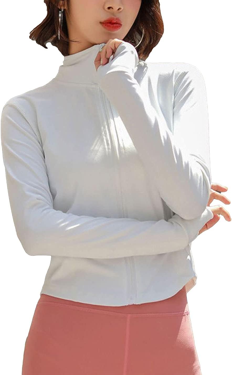 FindThy Women's Slim Cropped [Alternative dealer] Yoga Max 56% OFF Full-Zip Jackets Workout