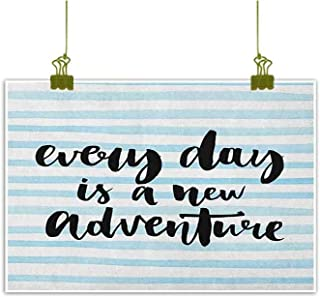 QIAOQIAOLO Home Decoration Oil Painting Adventure Hanging in The Bedroom Every Day is a New Adventure Quote Inspirational Things About Life Artwork W35 x L31 Baby Blue Black