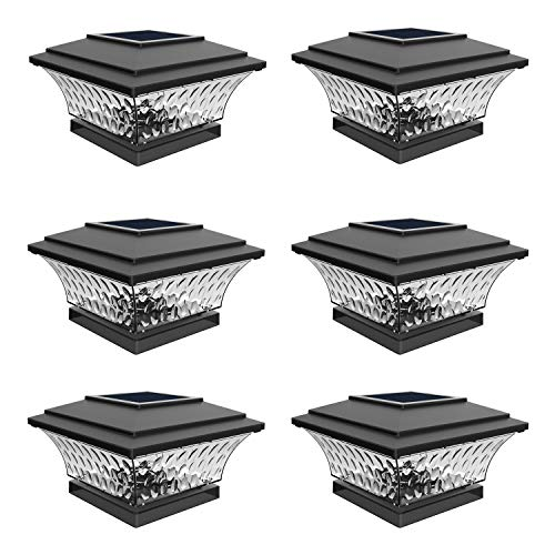 Solar Post Cap Lights Outdoor LED Lighting Deck Fence Cap Light Two Light Modes Warm White/Bright White Suitable for 4x4 Wooden Posts (6pack)