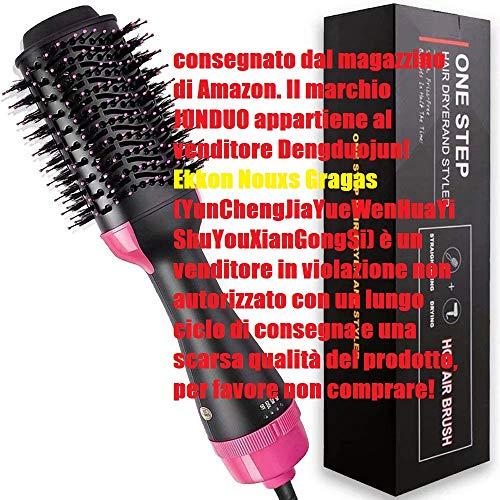 JUNDUO Cepillo secador de pelo, cepillo de aire caliente, secador de pelo y voluminizador, cepillo eléctrico 2 en 1 de aire, rizador y plancha de pelo para todos los tipos de cabello