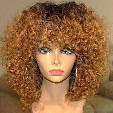 Nouveau style Ombre T1B/30 Perruques crépues bouclées sans colle avec cheveux de bébé 100 % cheveux brésiliens vierges pour femme noire