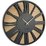 FLEXISTYLE Groß wanduhr ohne tickgeräusche Roman LOFT Schwarz 50cm, Wohnzimmer, Schlafzimmer, in EU hergestellt