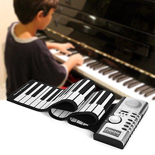 Wandisy 【𝐂𝐡𝐫𝐢𝐬𝐭𝐦𝐚𝐬 𝐆𝐢𝐟𝐭】 61 Tasten Elektronische Tastatur, tragbare Hand aufrollbares Klavier für Kinder Kinder Anfänger