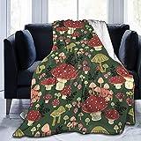KINGAM Manta de forro polar de franela con setas brillantes, manta de microfibra cálida, suave, ligera, acogedora para cama, sofá, todas las estaciones