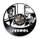 Enseignant et étudiant école pépinière horloge murale éducation pépinière décoration vinyle record horloge murale professeur merci cadeau