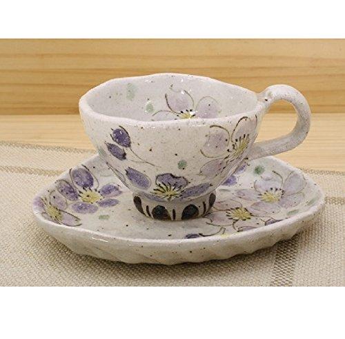 カップ ソーサー ケーキ皿 陶器 春を感じる「季節の器」粉引色桜(紫) コーヒー碗皿 コーヒーカップ