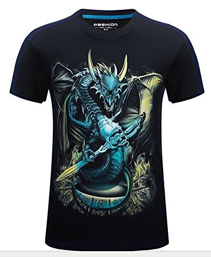 Angcoco Men's Short Sleeve Professional 3D Digital Print T Shirts Dragon