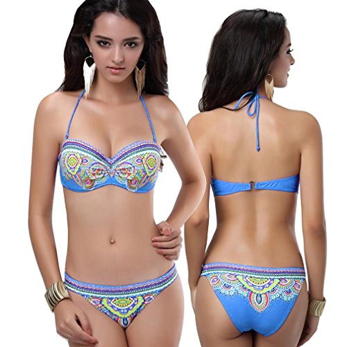 Dames push up nekhouder bikini set blauw retro patroon cup bandeau badpak strand cup A/B