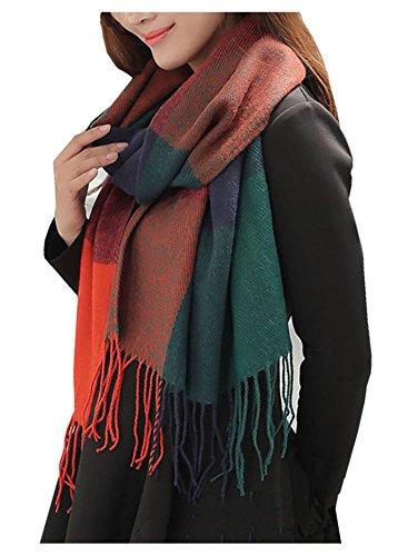 Wander Agio Women's Fashion Long Shawl Big Grid Winter Warm Lattice Large Scarf Orange Blue
