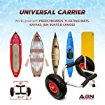 """Abn universal kayak carrier – trolley for carrying kayaks, canoes, paddleboards, float mats, and jon boats 10 practical: use the abn universal boat carrier to cart your kayak, canoe, paddleboard, float mat, or jon boat durable: has a 200-pound weight limit; constructed from high-strength anodized steel to ensure longevity while also keeping the carrying weight at a minimum (8lbs) tire design: 9. 5"""" knobby tires that are easy to inflate; allows for smooth movement across rough surfaces such as sand, gravel, and through wooded areas"""