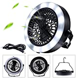 MILIJIA LED Camping Lantern, USB Powered Tent Light with Ceiling Fan (2rd Generation), Premium Plastic Portable Battery Operated Fan Lights with Hook for Emergency, Hurricane, Storm, Power Out