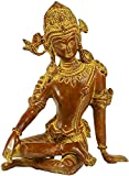 Exotic India The Delicately Seated Indra Statue, Antique Brown