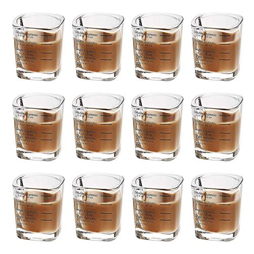 Tebery 12 Pack Espresso Shot Glasses Measuring Cup Heavy Base 2 Ounce Wine Glass