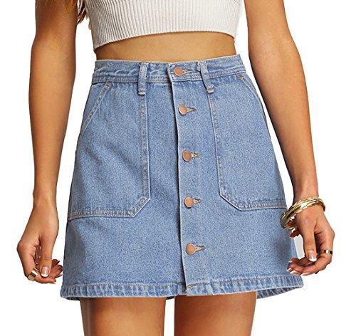 Verdusa Women's Button Front Denim A-Line Short Skirt - Light Blue Large