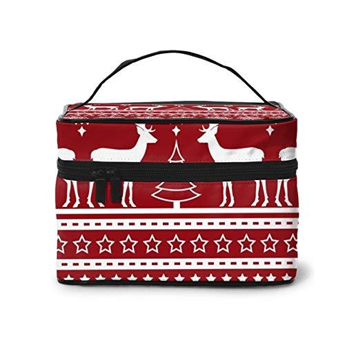 Women's Travel Organization Beauty Cosmetic Make up,Storage Lady Wash Bags Christmas Red Print Handbag