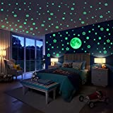 Hiveseen 470 Piezas LuminosoPegatinasdePared, Puntos Luna Estrellas Fluorescentes para Dormitorio de Niños DIY Decoración