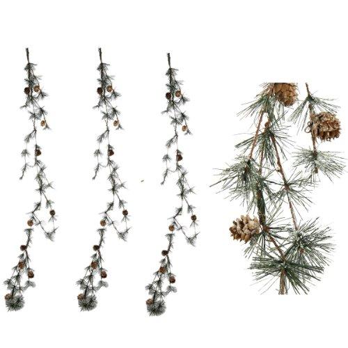 Annastore 3 x Tannengirlande künstlich mit Tannenzapfen 3 x L 117 cm - Gesamtlänge 351 cm - Zedernranke - Weihnachtsgirlande – Tannenzweige