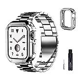 baklon Cinturino e Cover Compatibile per Apple Watch Cinturino 38mm 40mm 42mm 44mm, Cinturino in Acciaio Inossidabile di Ricambio Compatibile con iWatch Series SE/6/5/4/3/2/1, 42mm/44mm, Argento-Nero