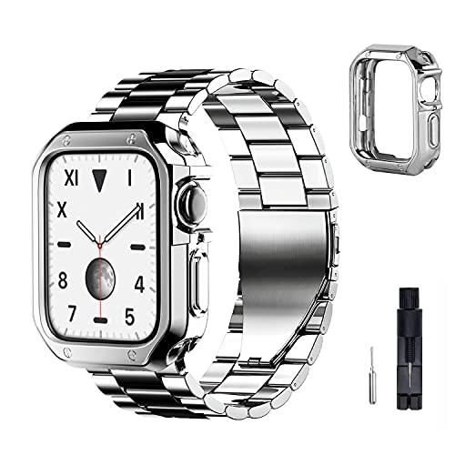 baklon Correa con Caja Compatible con Apple Watch Correa 38mm 40mm 42mm 44mm, Correa de Dcero Inoxidable de Repuesto Compatible con iWatch Series SE/6/5/4/3/2/1, 38mm/40mm, Plata-Negra
