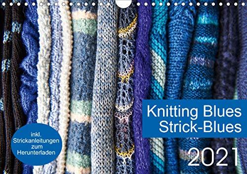 Strick-Blues (Wandkalender 2021 DIN A4 quer): 12 Strickprojekte, die aus Rechtecken oder Quadraten entstehen. (Monatskalender, 14 Seiten ) (CALVENDO Hobbys)