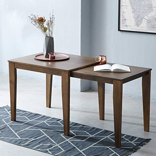"""Livinia Expandable Dining Table, Solid Hardwood Extending Table Rise 35"""" to 59"""", Rectangular Kitchen Table for 2 to 4, Leisure Desk for Kitchen Dining Living Room Apartment (Walnut)"""
