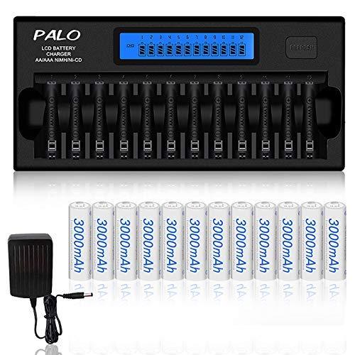 Palo 12 Bay LCD Smart AA AAA Cargador de batería + Paquete de 12 AA 3000mAh Baterías Recargables Ni-MH - Incluye Estuche de batería (Puede Cargar baterías Individualmente, no Debe Estar en Pares)