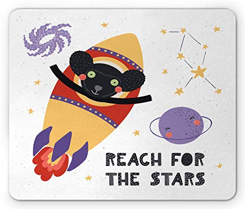 Pc Gaming-Mousepad,Maus Mat,Office Mousepad,Space Mouse Pad, Hand Gezeichnet Wie Affe Astronaut Fliegt In Rocket Planet Formulierung Erreichen Sie Die Sterne, Rechteck Rutschfeste Gummi Mousepad