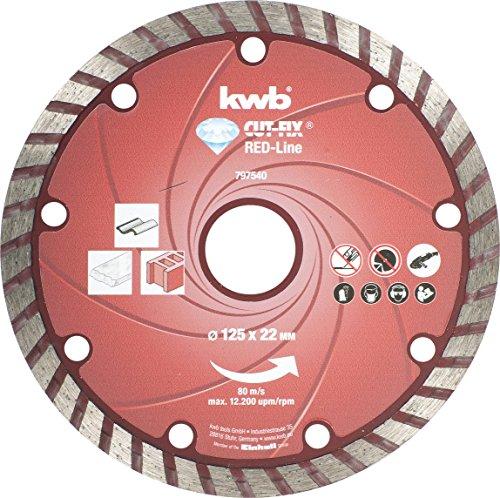 kwb RED-LINE Diamant-Trennscheibe - Turborand, Set für Winkelschleifer und Trennschleifer, Ø 125 x 22 mm