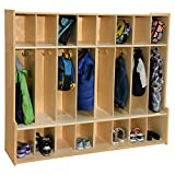 Contender 8-Section Coat Locker with Bench & Cubby Storage, Wooden Backpack Cubby Storage ...