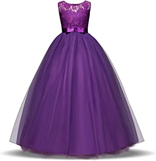 Girls Lace Dress Long A Line Tulle Wedding Pageant Party Prom Dresses Ball Gown