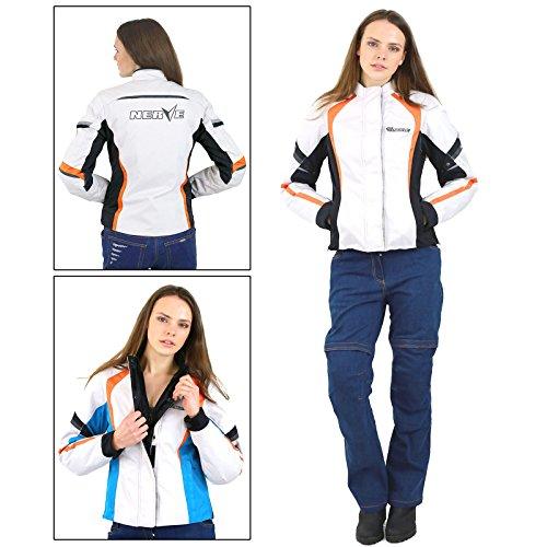 DamenMotorradjacke -Artemis-Motorrad Wasserdicht Jacke mit Protektoren Sommer Winter Textil Frauen - weiß-schwarz - 38