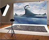 Tiburón telón de fondo de vinilo para fotógrafos, diseño de gestión, con un pingüino que sostiene el humor de tiburón, fondo para fiestas, decoración del hogar al aire libre, accesorios de disparo
