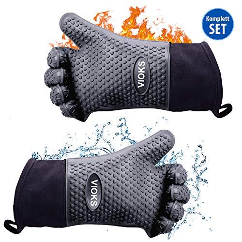 Backofenhandschuhe Hitzebeständige Grillhandschuhe Kochhandschuhe aus Silikon - Gut und Sicher Backen Grillen und Kochen mit BBQ Handschuhen in Grau Topfhandschuhe 20,8 x 34,8 cm