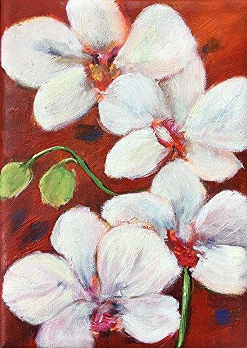 Bild Blumen Orchideen Malerei Kunst Original Ölmalerei Gemälde 13x18 cm