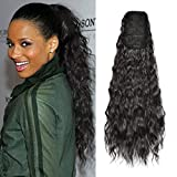 Sidaila 22 Inch Long Curly Drawstring Ponytail Hair Extensions Synthetic Corn Wave Ponytail Hairpieces for Black Women (NaturalBlack )