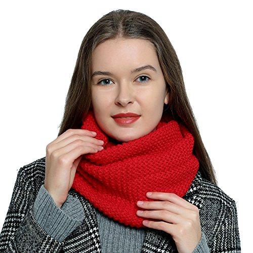 Bufanda de lana de invierno tipo cuello suave y cálida para mujer con diseño de punto - Rojo