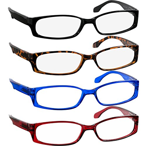 Fashion Reading Glasses 1.00 Black Tortoise Red Blue (4 Pack) F503 TruVision Readers