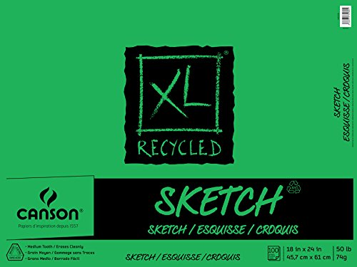 Canson XL Series Recycled Sketch Pad, 18' x 24', Fold-over Cover, 100 Sheets (100510925)
