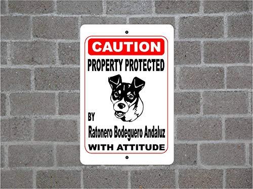 Lplpol Property Protected By Ratonero Bodeguero Andaluz Guard - Cartel de metal de aluminio para valla de patio (20,3 x 30,5 cm)