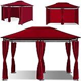 KESSER® - Pavillon 3x4m inkl. Seitenwände mit Reißverschlüsse, Eckig Festzelt Partyzelt Gartenlaube Gartenzelt Luxus Gartenpavillon UV-Schutz 50+, Rot