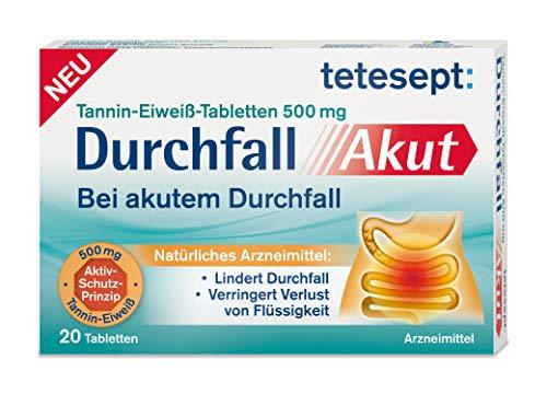 tetesept Durchfall Akut – Natürliches Arzneimittel zur unterstützenden Behandlung bei Durchfall – 20 Tabletten